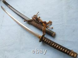 Japon Military Officer's Sword Samurai Katana Folded Steel Blade Wood Sheathj026