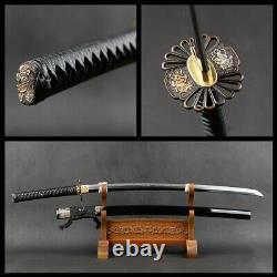 Japonais Samurai Katana Sword Clay Tempered Steel Blade Folded Laiton Raccords