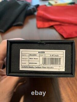 Kizer Couteau De Pliage Microlithe 2,5 S35vn Lame En Acier Poignée En Fibre De Carbone