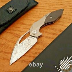 Kizer Minithérium Couteau Pliant 3 Damasteel Lame Titanium/poignée De Fibre De Carbone