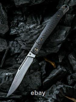 Nous Couteau Gentry Pliant Couteau 3.25 Cpm S35vn Lame En Acier Titanium / Fibre De Carbone