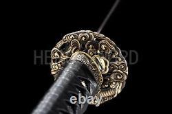 Pourpre Damas Acier Plié Samouraï Japonais Épée Dragon Katana Sharp Blade