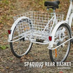 Secondhand 20 Adult Tricycle Folding Trike W Carbon Steel Frame&basket, Blanc