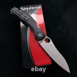 Spyderco Kapara C241cfp Couteau Pliant W Fibre De Carbone Gère L'acier Lame S30v