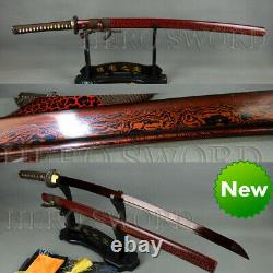 Sword Japonais Japonais De Samurai Katana En Acier Plié Lame Rouge Sharp Full Tang