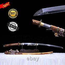 Top Clay Tempered Acier Au Carbone Plié Japonais Tachi Sword Sharp Full Tang Blade