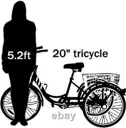 Tricycle De Vélo Pliant Adulte 20 3 Roues Trike 7 Vitesses Cyan Avec Coffre + Frein Sûr