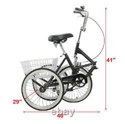 Tricycle Pliable Adulte 20'' 7 Speed 3wheel Trike Pliant Avec Panier D'expédition