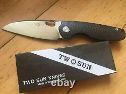 Twosun Carbon Fibre Titanium Front Flipper Pocket Knife Pliant Ts129-cf