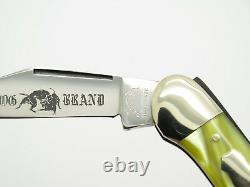 Vtg 1980s Bulldog Marque Pliante Lockback Pocket Couteau Or Celluloïde
