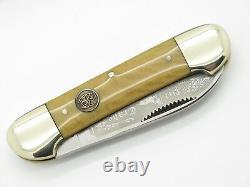 Vtg 1996 Bulldog Brand Pit Bull Canoe Folding Pocket Knife Waterfall