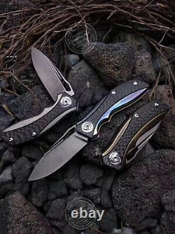 Wootz Steel Knife Tactical Folding Knife Rescue Titanium Alloy Fibre De Carbone Edc